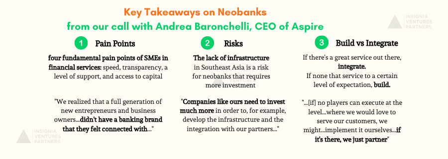 Key Takeaways on Neobanking in Southeast Asia from our call with Aspire CEO and co-founder Andrea Baronchelli