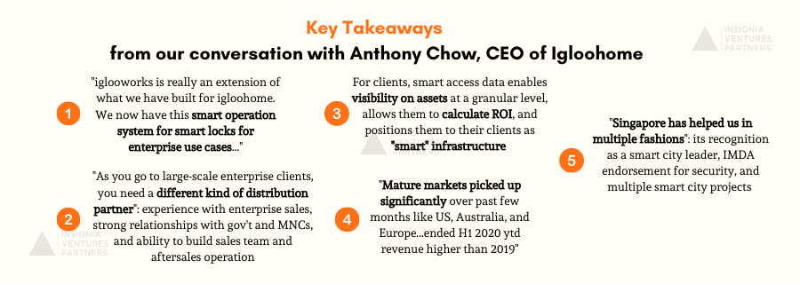 Key Takeaways from our conversation with Anthony Chow, CEO of igloohome