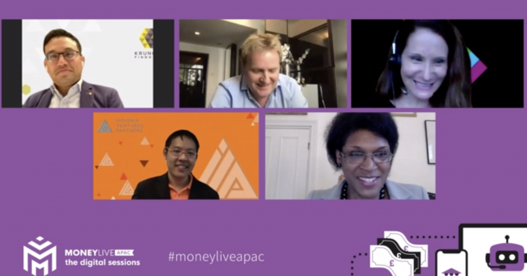 First Digital Session panel on MoneyLive APAC: HSBC's Jen Flowers, Standard Chartered's Marnix Zwart, Krungsri Finnovate's Sam Tanskul, moderated by Juliette Foster