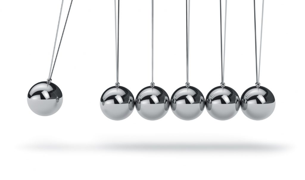 Photo of Newton's Cradle taken from analyticalsci.com