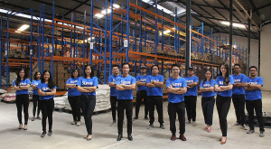 Super CEO and co-founder Steven Wongsoredjo and team at Super warehouse