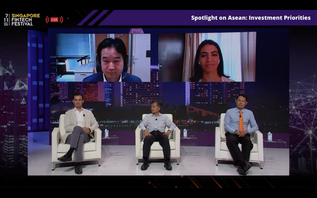 """SFFxSWITCH 2020 Investor Summit Panel """"Spotlight on ASEAN: Investment Priorities"""", with (L-R, top to bottom): SBI Investment Executive Officer for Overseas Investment Tomoyuki Nii, Sixteenth Street Capital founder Rashmi Kwatra, Beenext Managing Partner Dirk Van Quaquabeke, Qualgro Partners founding managing partner Heang Chhor, and Insignia Ventures Partner founding managing partner Yinglan Tan. The panel was moderated by EY Global Emerging Markets Fintech Leader Varun Mittal and Expand Research Managing Director and Head of Asia Pauline Theobald Wray"""