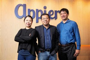 Appier co-founders (from left): COO Winnie Lee, CEO Yu Chih-han, and CTO Joe Su Photo: Michael Lee, Digitimes, February 2020